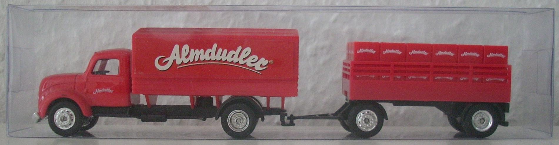 Almdudler Magirus Lastwagen mit Anhänger - neuwertig & OVP - Modellauto H0 1:87