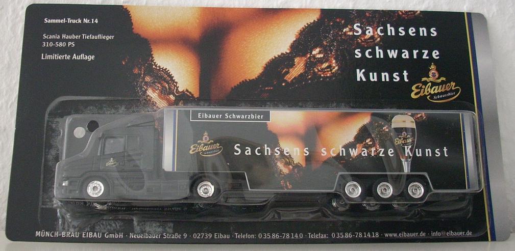 """Eibauer Schwarzbier Scania Lastwagen - Motiv: """"Sachsens schwarze Kunst"""" - Sammel-Truck Nr. 14, limitiert - Modellauto 1:87 H0 - Modellautos & Nutzfahrzeuge - Bild 1"""