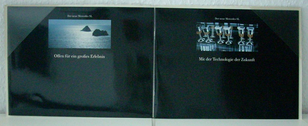 """Bild 3: R129 """"Der neue Mercedes SL"""" - """"Die Legende lebt"""" - 09/89 - Doppel-Prospekt Mappe"""