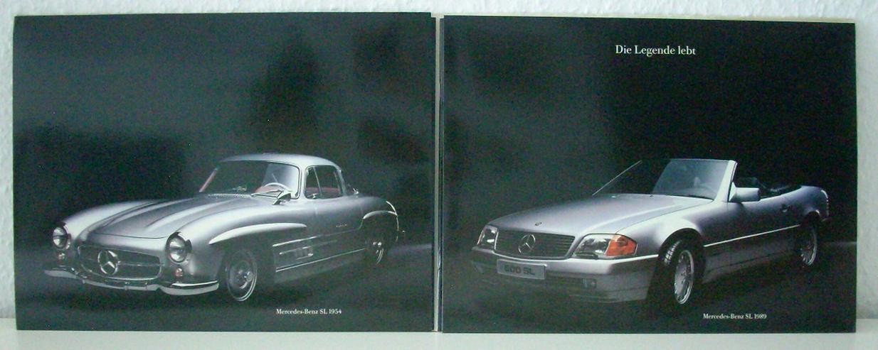 """Bild 2: R129 """"Der neue Mercedes SL"""" - """"Die Legende lebt"""" - 09/89 - Doppel-Prospekt Mappe"""