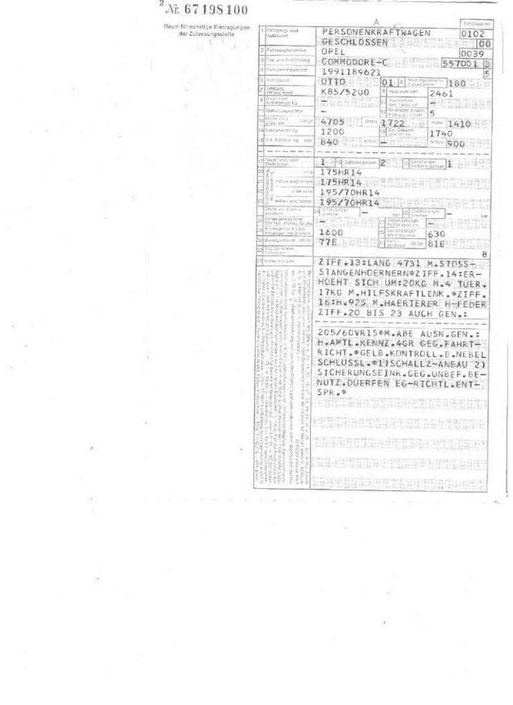 Bild 6: Oldtimer Opel Commodore C 2,5s Berlina mit Oldtimergutachten