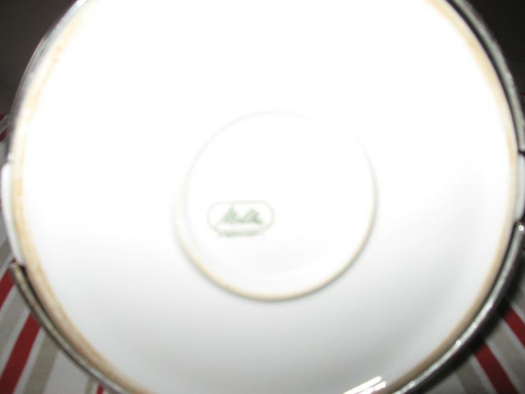 Bild 2: Melitta Warmhalte- Kaffee- und Teekanne, mit Milchkännchen, ca. 50 Jahre alt, Porzellan mit Isolierhaube,
