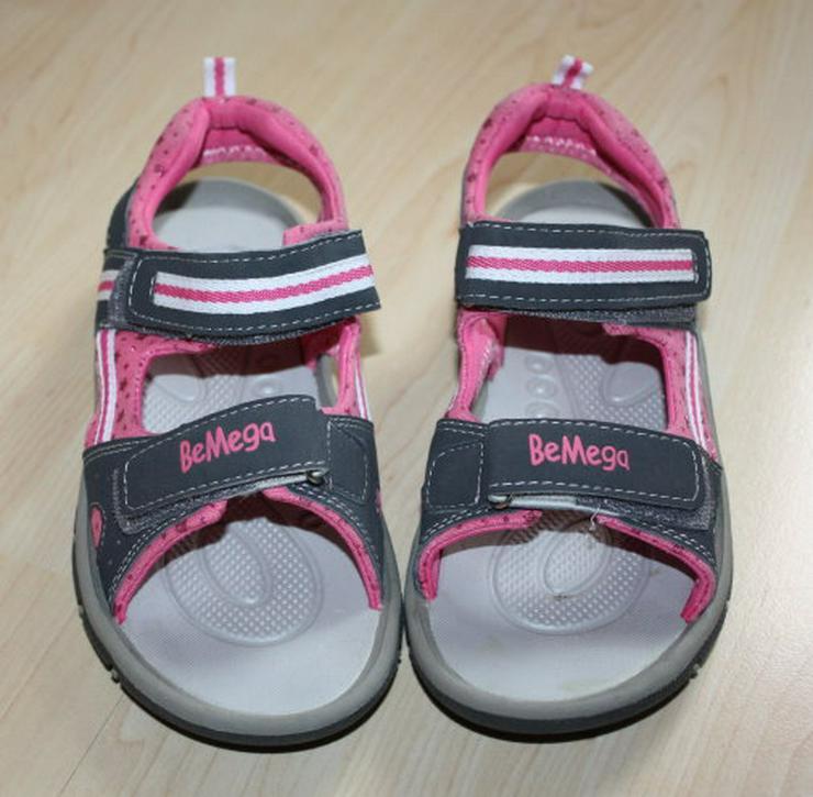 Bild 2: Mädchen BeMega Sandalen Sandaletten Kinder Sommerschuhe Freizeitschuhe Klettschuhe grau/pink Gr. 35