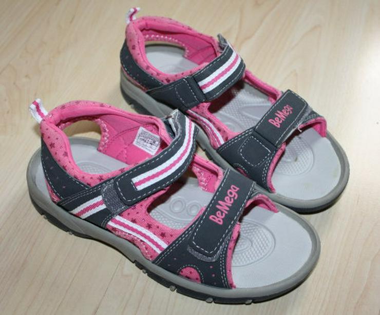 Mädchen BeMega Sandalen Sandaletten Kinder Sommerschuhe Freizeitschuhe Klettschuhe grau/pink Gr. 35