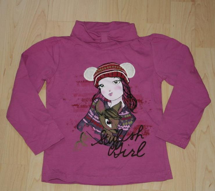 Mädchen Rollkragen Pullover Shirt Kinder Sweatshirt Rolli Langarmshirt Pulli C&A lila violett Gr. 110