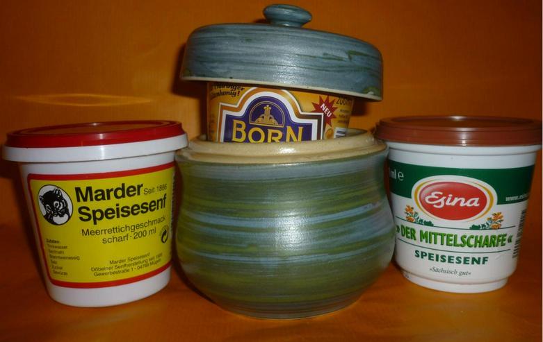Bild 3: Bautzner Senftopf - Keramik - grün-blau incl. Bautzener Becher