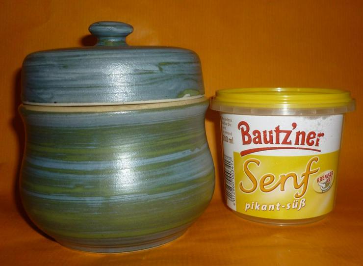 Bild 2: Bautzner Senftopf - Keramik - grün-blau incl. Bautzener Becher