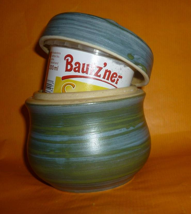 Bautzner Senftopf - Keramik - grün-blau incl. Bautzener Becher