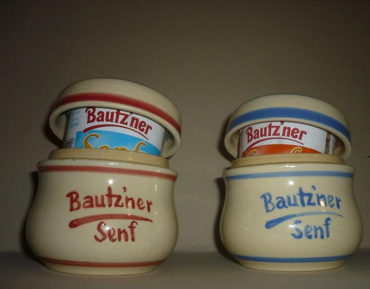 Bild 3: Bautzner Senftopf - Keramik- blau geringelt - incl. Bautzner Becher