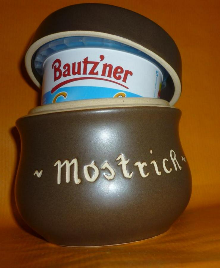 Bild 5: Bautzner Senftopf - Keramik- blau geringelt - incl. Bautzner Becher