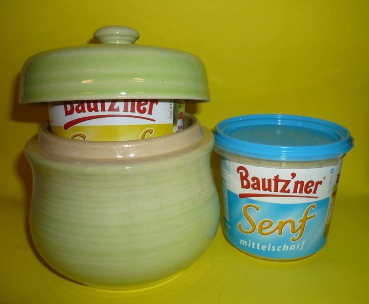 Bild 2: Bautzner Senftopf - Keramik- blau geringelt - incl. Bautzner Becher