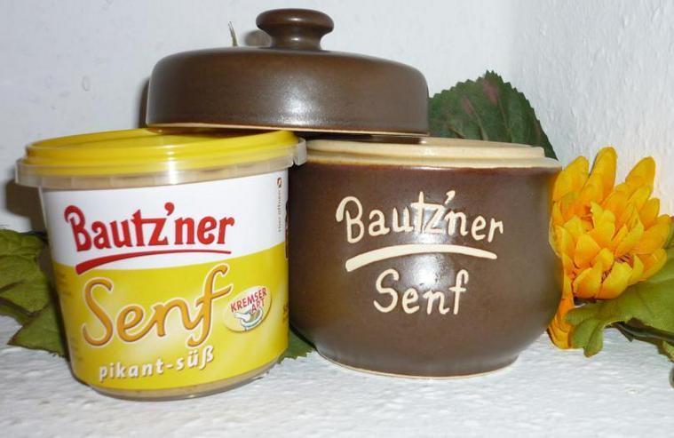 Bild 6: Bautzner Senftopf - Keramik- blau geringelt - incl. Bautzner Becher