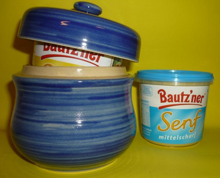 Bautzner Senftopf - Keramik- blau geringelt - incl. Bautzner Becher