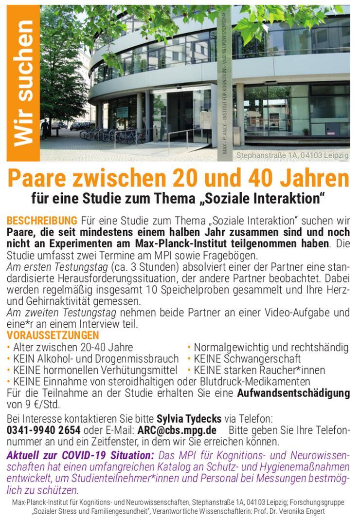 Paare für Studie am Max-Planck-Institut gesucht