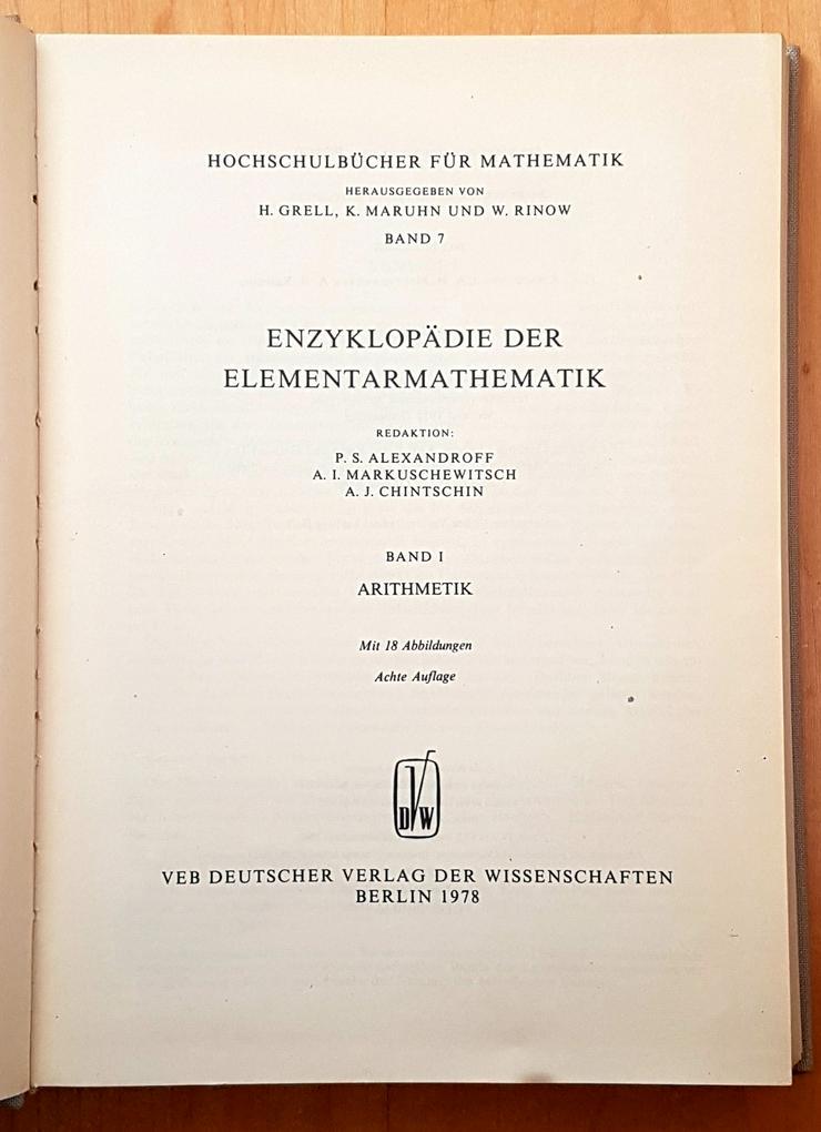 Bild 2: Enzyklopädie der Elementarmathematik. I , II, IV, V