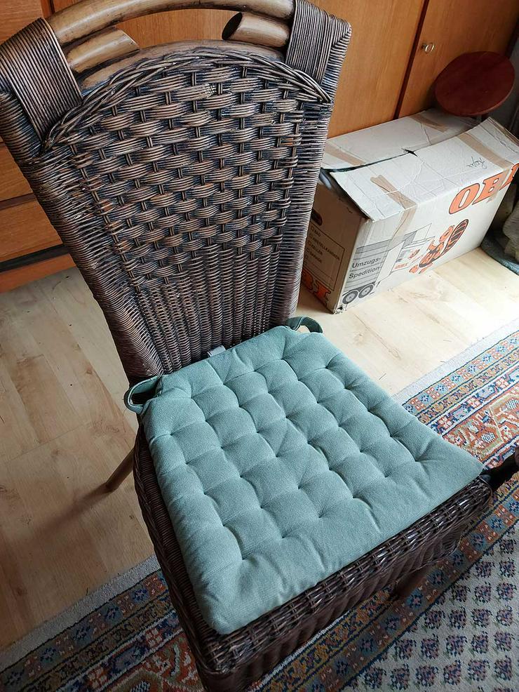 Stuhl Rattangeflecht + Sitzlissen mintgrün (insgesamt 6 vorhanden)