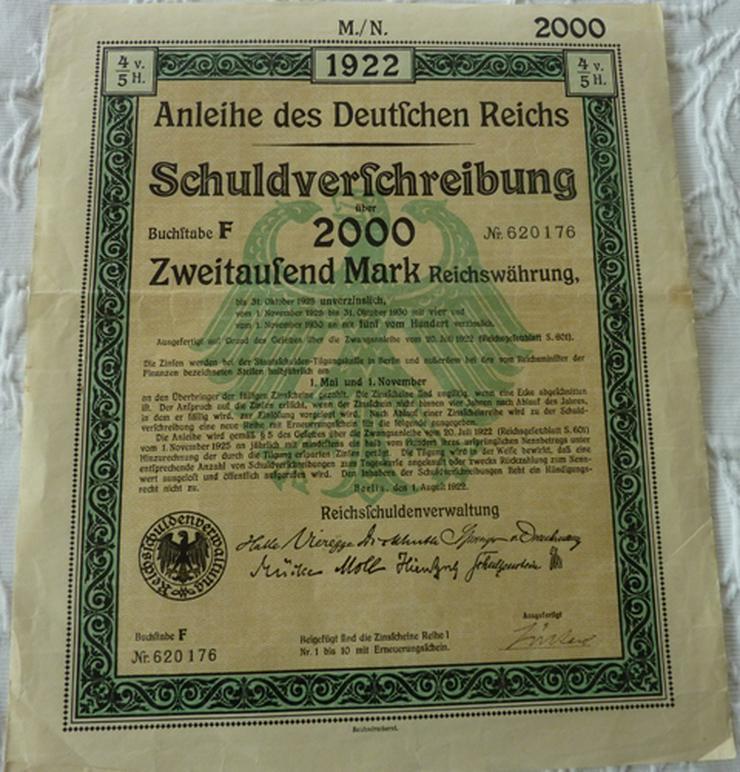 """Biete Schuldverschreibung """"des Deutschen Reich """""""
