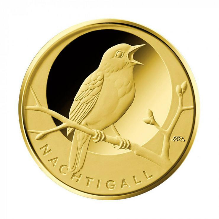 20 Euro Goldmünze Nachtigall 2016, 1/8 Unze Gold, Heimische Vögel mit Zertifikat, Deutschland