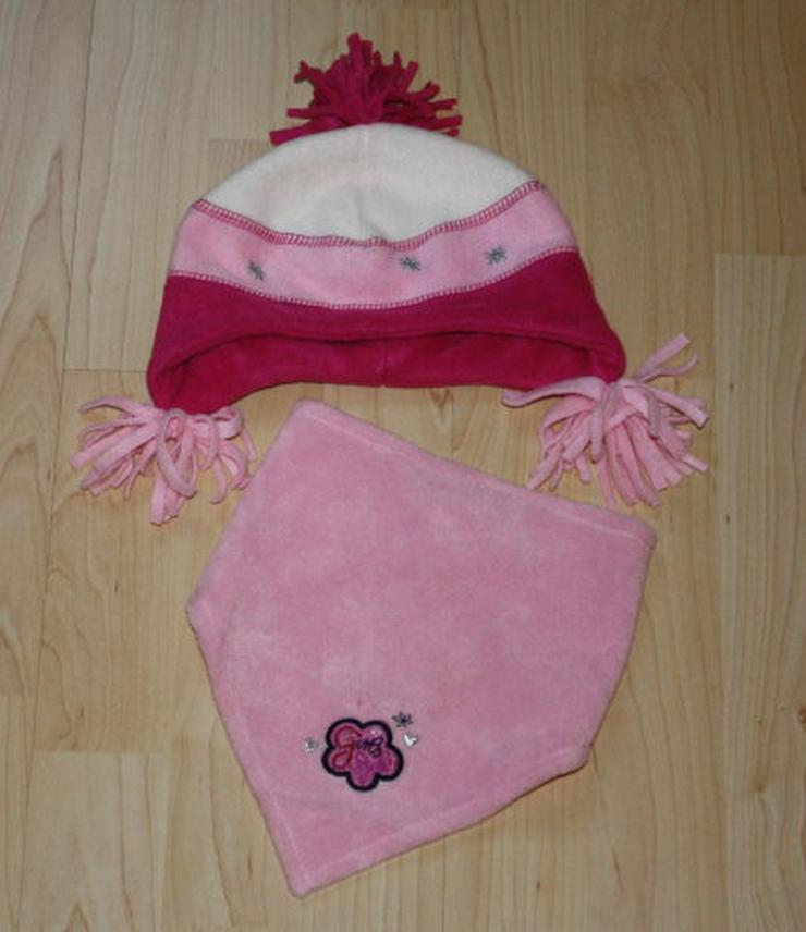 Mädchen Winter Fleece Mütze Bommel Baby Halstuch Set Kinder Schal KU 47/48 pink/rosa/weiß NEU