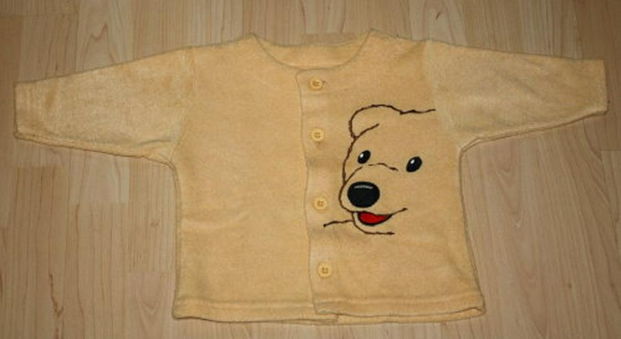 Baby Sweatjacke Mädchen Strickjacke Kinder Cardigan Shirtjacke Sweater Teddybär gelb Gr. 74