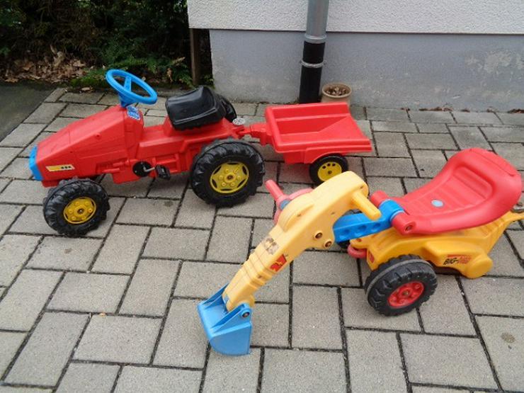 Big + Rolly Toys Kinder Trettraktor mit 2 Anhänger