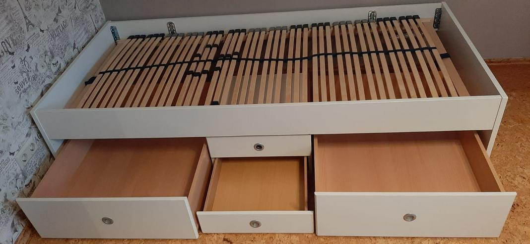 Einzelbett 90x200 weiß mit Schubladen und Lattenrost
