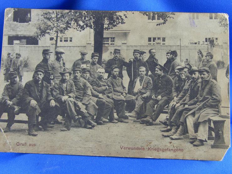 Vintage Postkarte/Foto / 1 WK / Verwundete Kriegsgefangene / Uniform