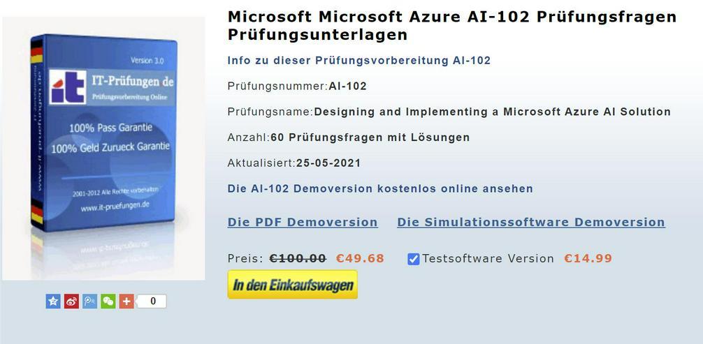 Prüfung AI-102 Testfragen und Antworten, AI-102 Zertifikat