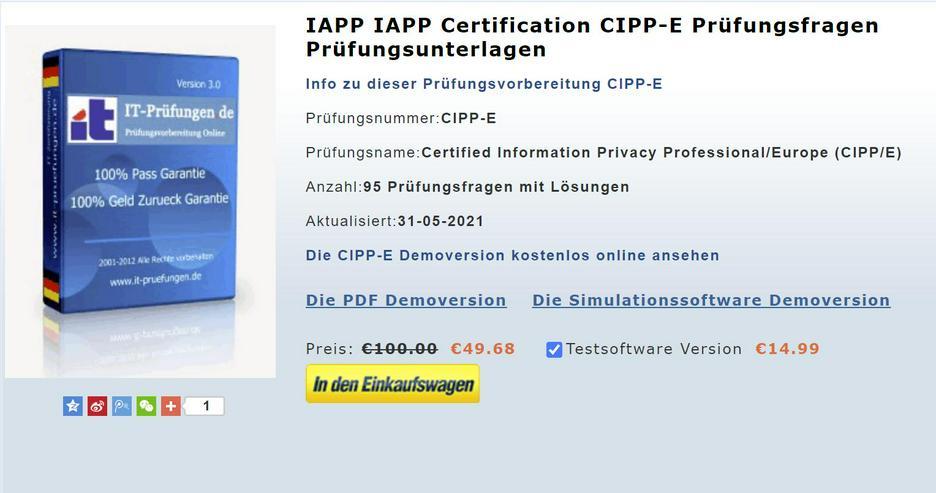 itpruefungsfragen CIPP-E Prüfungsfragen, CIPP-E zertifizierung