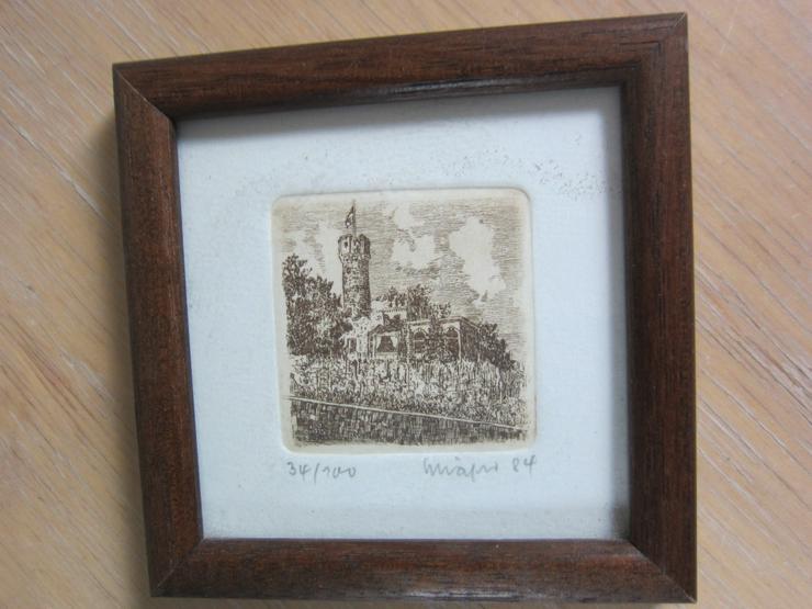 Bild 3: 2 Radierungen-Rheingau: Burg Schwarzenstein/Turm von Schloß Vollrads