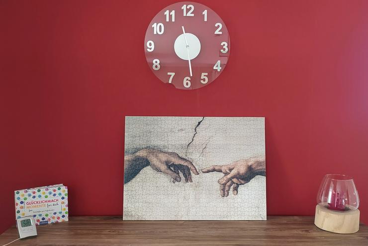 """Michelangelo """"Die Erschaffung Adams"""" als fertig gepuzzeltes Puzzlebild Puzzle 1000 Teile, 47 x 65 cm, auf eine Platte aufgezogen, sehr dekorativ"""
