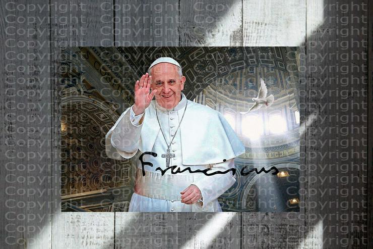 Papst Franziskus Souvenir. Top Deko. Geschenkidee. Wandbild. Unikat. Rarität.