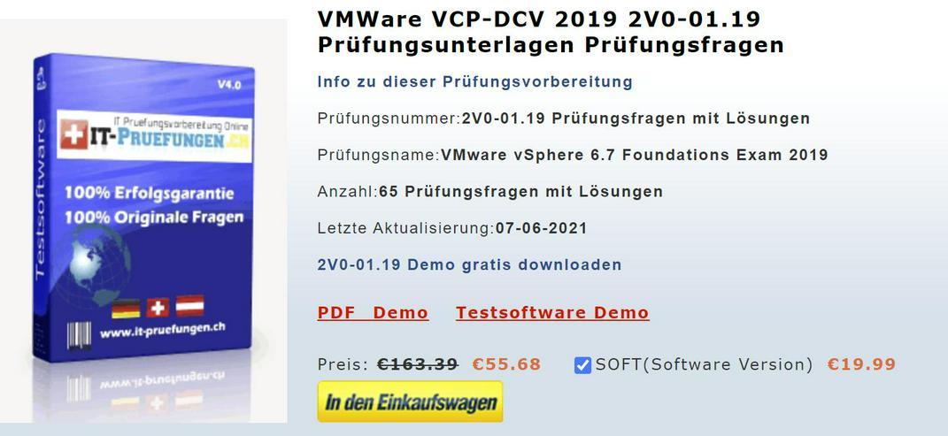 VMware Prüfung 2V0-01.19 Fragen und antworten