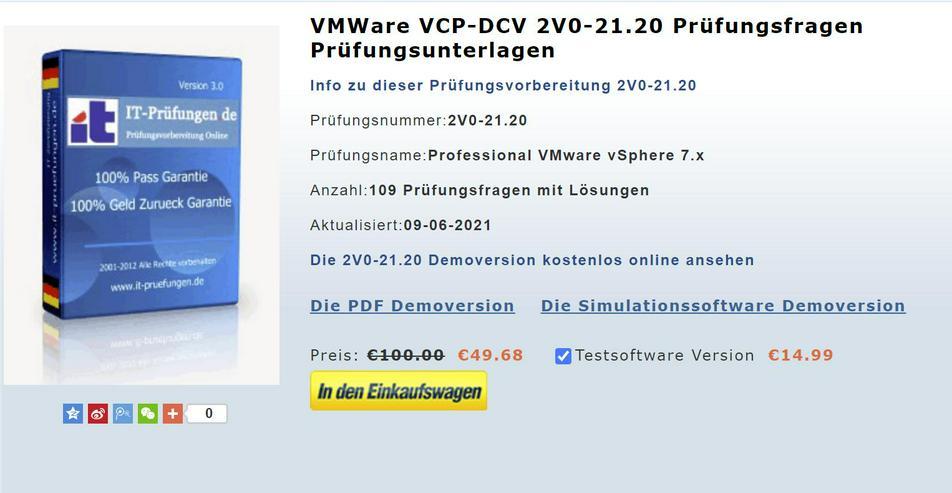 VMWare zertifikat 2V0-21.20 Prüfungsfragen deutsch