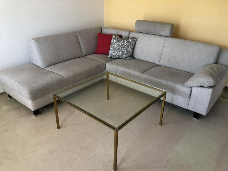 atraktive Eck-Couch hellgrauer Stoff