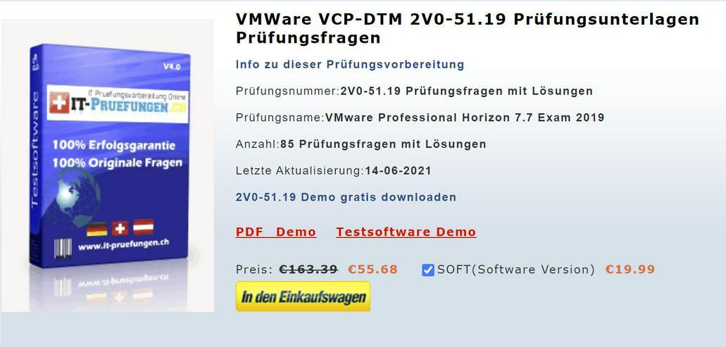 VMware Prüfungsfragen 2V0-51.19 Zertifizierung Prüfung