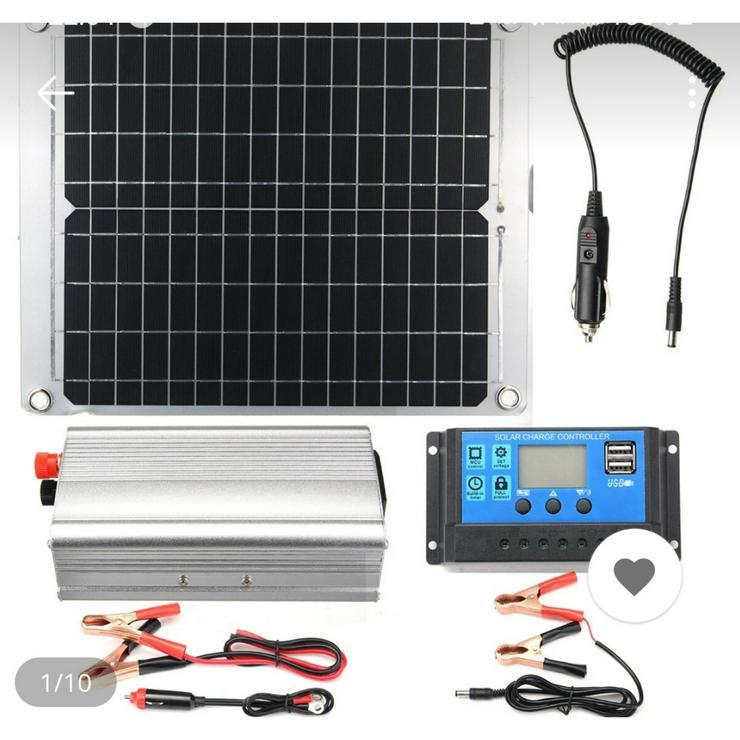 komplette Solaranlage 40 Watt mit Solarpanel, Solarcharger, Inverter
