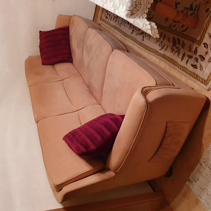Couch + 2 Sessel und Eichen-Schrankwand mit Vitirine