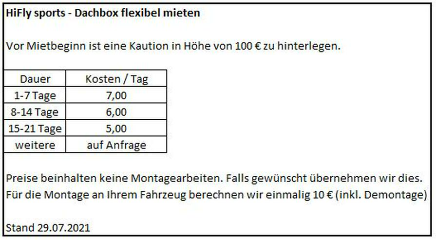 Bild 4: HiFly Dachbox Skibox - flexibel mieten. Ab 7€/Tag