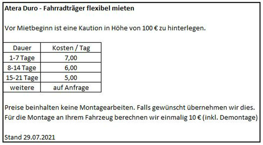 Atera Fahrradträger - flexibel mieten. Ab 7€/Tag - Autozubehör & PKW Zubehör - Bild 3