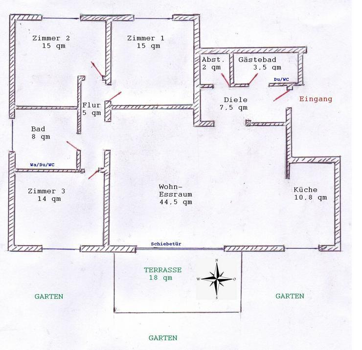 Komfort 4-Zimmer-Wohnung mit Garten in 79576 Weil am Rhein / Haltingen