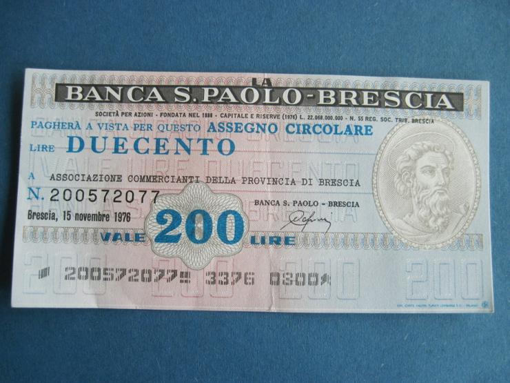 Banknote Geldschein Italien 200 Lire 1976 Banca S. Paolo - Brescia