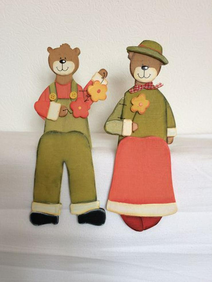 Kantenhocker Bärenpärchen groß 29 cm Holz, unbenutzt
