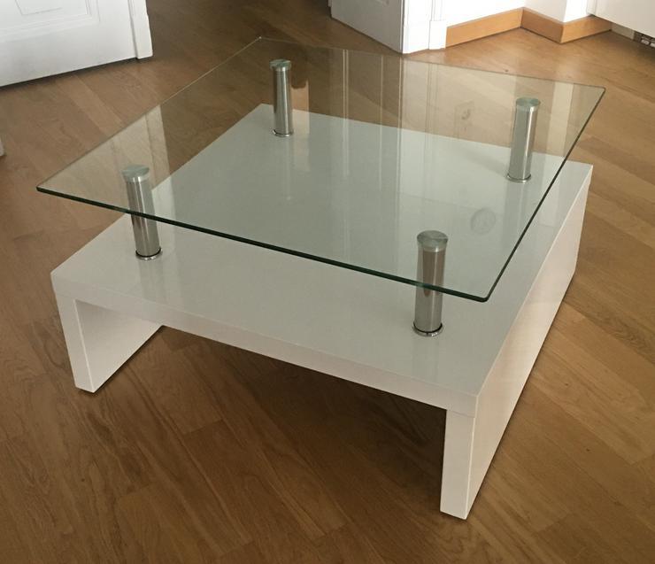 moderner Couchtisch 70 x 70 cm, Höhe 40 cm, in Weiß lackiert mit Glasplatte