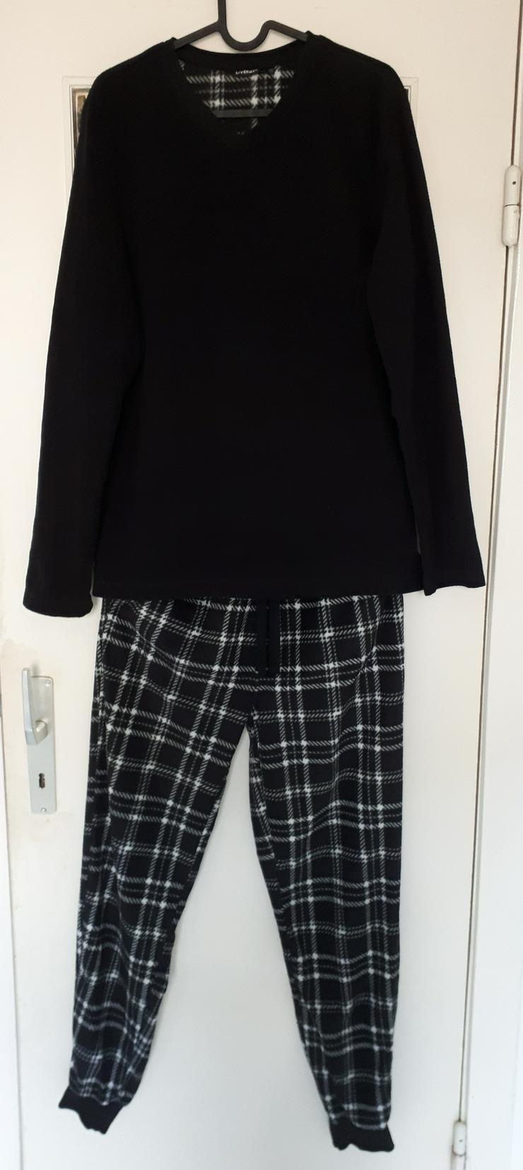 Fleece Pyjama für Herren schwarz kariert S 44 46 Lidl Livergy