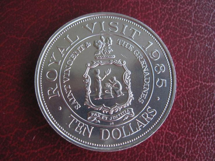 10 $ Dollars  St. Vincent + Grenada Royal Visit 1985 Queen Elizabeth II.