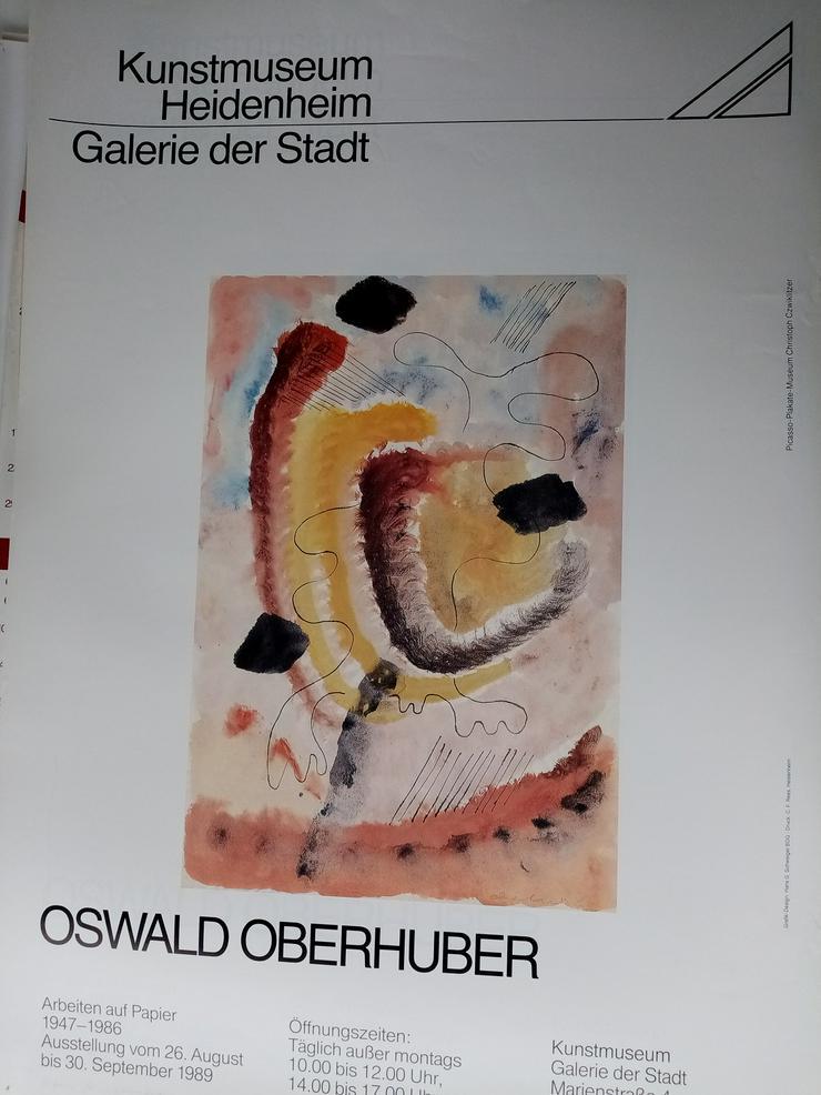Plakat  Zeitgenossen  Kunst  Suedtirol  Oberhuber in Heidenheim 1989 - Poster, Drucke & Fotos - Bild 1