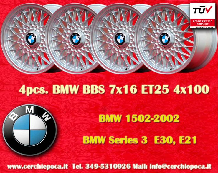 4 Stk Felgen BMW BBS Nachbau 7x16 ET25 4x100 Silber mit TUV