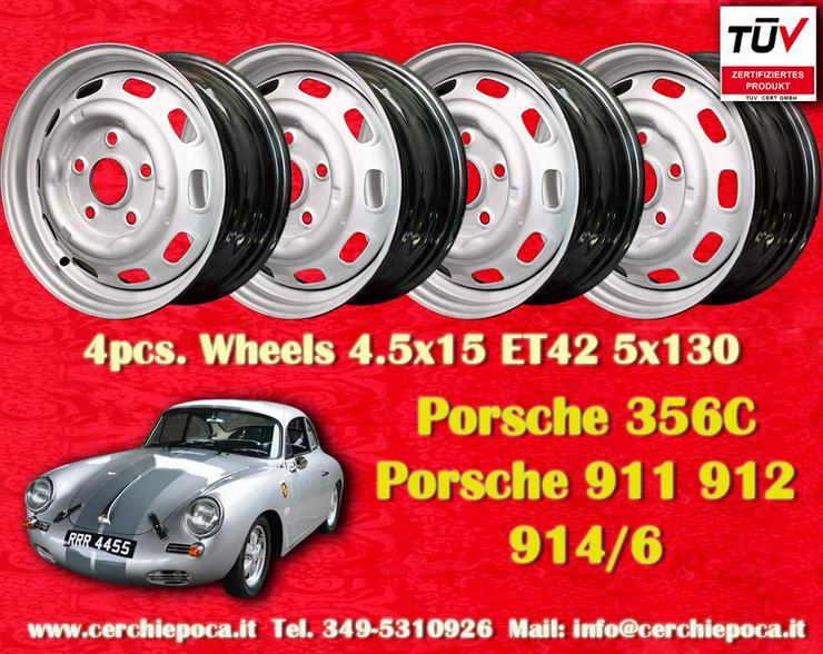 4 Stk. Porsche 356C 911 912 914 4.5x15 Stahlfelgen