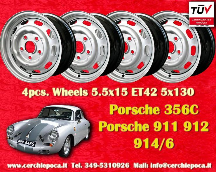 4 Stk. Porsche 356C 911 912 914 5.5x15 Stahlfelgen